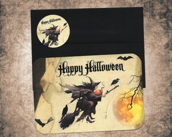 Halloween Cards, Flying Witch, Happy Halloween, Greeting Cards