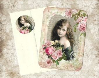 Note Cards, Vintage Style, Victorian Girl, Roses, Stickers, Note Card Set