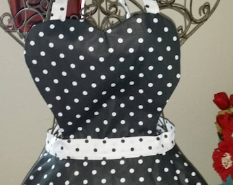 Apron Black & White Polka Dots Vintage Inspired Apron Retro The Lucy Full Apron Birthday Gift, Mother's Day Gift