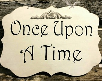 Once Upon A Time White Shabby Chic Wood Sign Fairy Tale Childs Bedroom