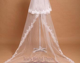 Chapel Length Two Tier Lace Wedding Veil | Long Wedding Veil | VG1043