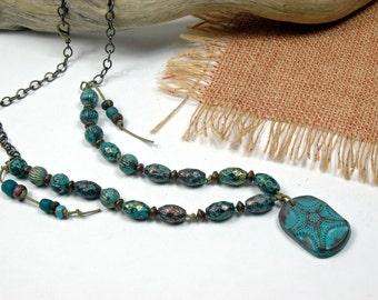 Beach Necklace, Malibu Blue, Weathered Patina, Polymer Art Bead, Casual Beach, Necklace