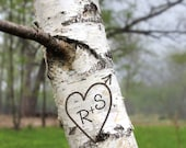 personalized art print, heart initials, birch tree photography