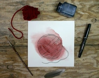 Red Yarn Painting- Original Watercolor| Pen Ink- 7 x 7- Watercolour Painting- Pen and Ink Drawing- Yarn-  Red, White