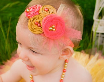 Baby Girl Fabric Headband Satin Tulle Rosette Coral Gold Baby Shower Gift Lace, flower girl, photo prop Newborn Girl Summer Fashion, Couture