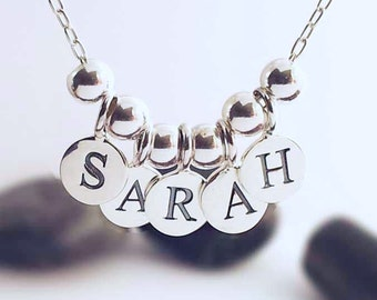 Sterling Silver Personalised Name Necklace Silver Charms Word on Chain necklace.