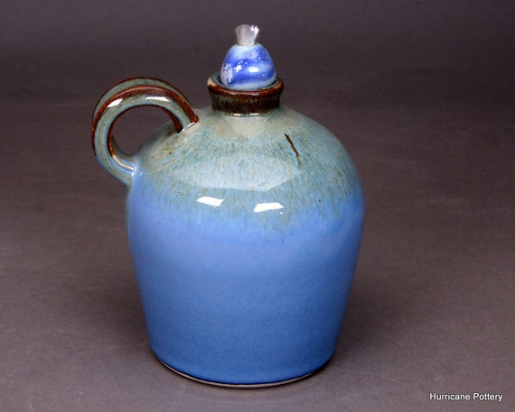 Handmade Ceramic Oil Lamps : Handmade hurricane pottery oil lamp jug outdoor living and