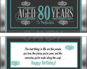 80th Birthday Party Favors Hershey's Candy Bar Wrappers Teal Blue