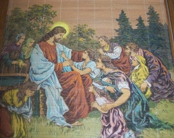 SALE Vintage Religious Picture of Jesus and Followers Wall Hanging from Japan Was 18.00