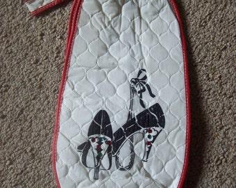 SALE Vintage Quilted Vinyl Shoe Bag Was 9.00