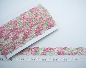 Embroidered trim, Red and green trim, Tulle trim, Doll trim, Embellishing trim 5 yards NT005
