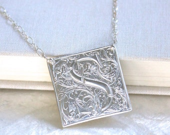 Large Highly Ornate Vintage Style Goudy Cloister Initial Necklace of Fine & Sterling Silver Eco Friendly Recycled Silver - Ethical
