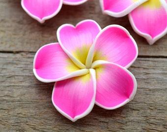 Pink Flower Beads, Polymer Clay, 10 pcs, 35mm,  Handmade Fimo Beads,  Hawaiian FlowerBeads, Floral Beads, Plumeria - B109