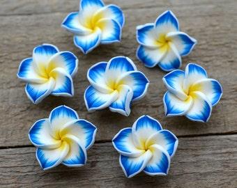 Blue  Flower Beads, 15 Pcs, 20mm,  Polymer Clay Beads,  Fimo beads,  White Beads -B127
