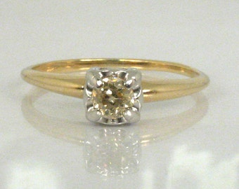 European Cut Diamond Solitaire Engagement Ring - 0.22 Carat
