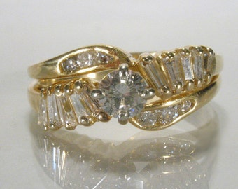 Vintage Diamond Wedding Set - 18K Yellow Gold Wedding Set - Vintage Estate
