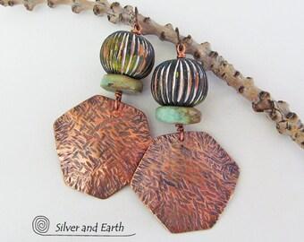 Copper Tribal Earrings, Turquoise & Copper Earrings, Ethnic African Earrings, Metalwork Earrings, Boho Gypsy Jewelry, Handmade Metal Jewelry