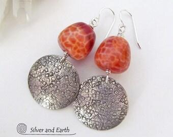 Fire Agate Earrings, Sterling Silver Earrings, Orange Earrings, Natural Stone Jewelry, Handmade Artisan Silver Jewelry, Metalwork Earrings