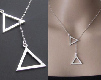 Triangle Lariat Neckace, Sterling Silver, Triangle Necklace, Jewelry, Gift