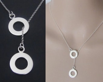 Eternity Circles Lariat Neckace, Sterling Silver, Pendant Necklace, Jewelry, Gift