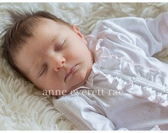 Baby Girl Coming Home Outfit-Baby Girl-Newborn Girl Coming home Outfit-Hattie's Pink Dot Ruffled Footed Sleeper-Personalized Newborn outfit
