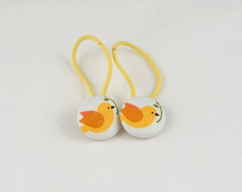 """7/8"""" Size 36 Yellow/Orange/White Bird with Plant Fabric Covered Button Hair Tie / Ponytail Holder / Party Favor (Set of 2)"""