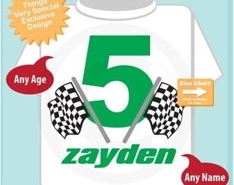 Fifth Birthday Checkered Flag Racer Shirt Personalized 5th Birthday Boy Racing Theme Tee Shirt or Onesie (04132015a)