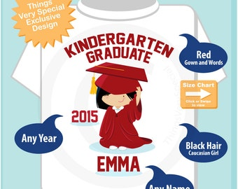 Kindergarten Graduate Shirt, Kindergarten Graduation Shirt, Personalized for your little girl with year and name (06022014c)