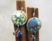 Enamel and Swarovski Sterling Silver Earrings