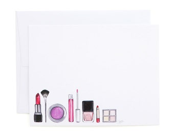 Makeup Flat Note Cards / Makeup Stationery, Beauty Note Cards, Nail Polish, Lipstick, Blush, Fashion Stationery, Makeup Note Cards