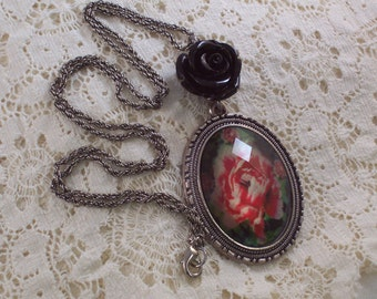 Rose Cabachon Antique Silver Black Rose necklace by ceeceedesigns on etsy