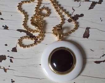 Classic Black and White Spectator Round pendant necklace by ceeceedesigns on etsy