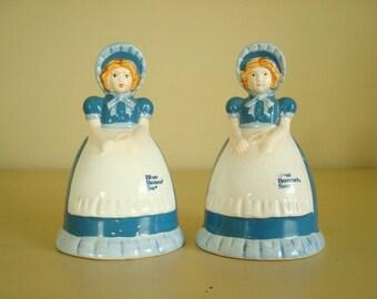 Vintage Blue Bonnet Sue salt & pepper, 1989 Nabisco advertising premium, Blue Bonnet Margarine Girl, redhead girl, collectible kitchen decor