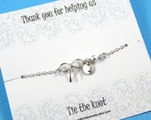Bridesmaids Gifts Personalized  Silver Bow Bracelet Knot Bracelet Thank You For Helping Us Tie The Knot Sterling Silver
