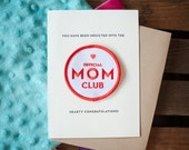 Mom Club - letterpress card & embroidered patch