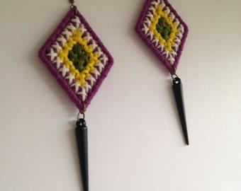 Grid Weaved Earrings w/ Spike Pendant