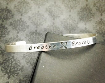 Hand Stamped Jewelry - BREATHE BRAVELY Sterling Cuff for Cystic Fibrosis Research