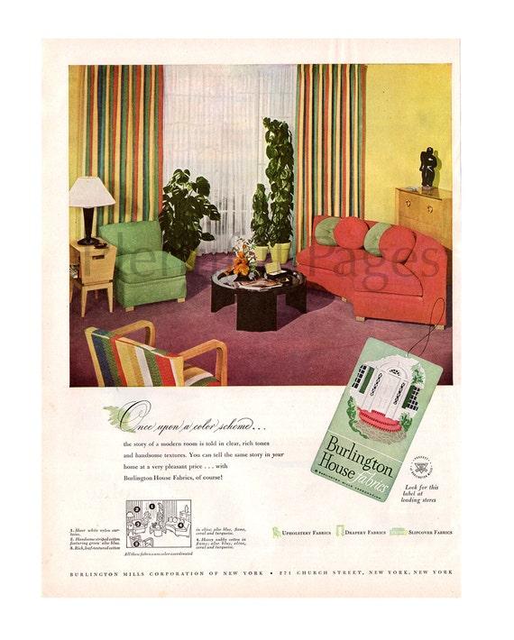 1947 Burlington House Fabrics Vintage Ad 1940's Decor