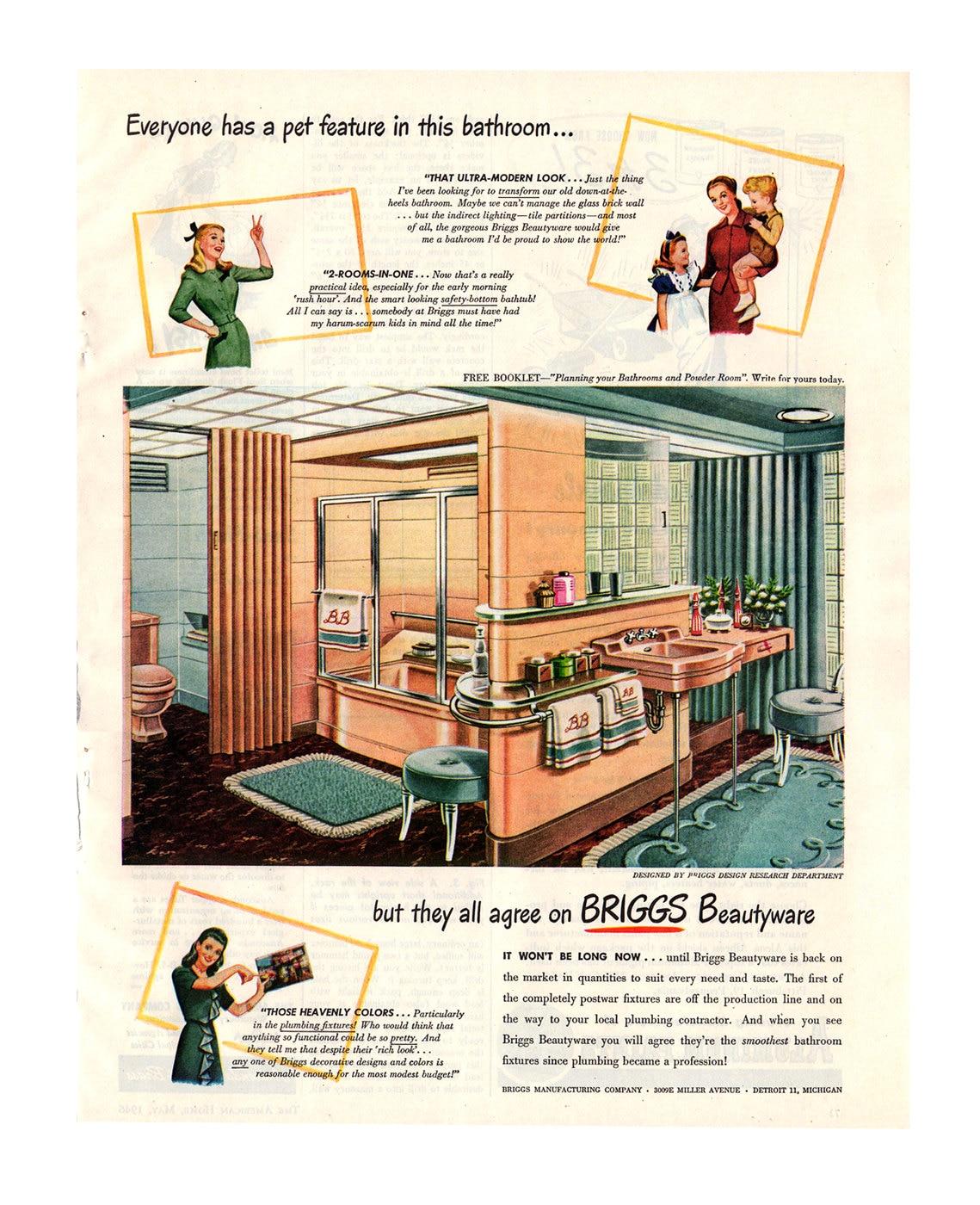1946 briggs bathroom fixtures vintage ad retro decor for Bathroom accessories ads