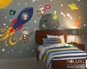 Monkey Wall Decal, Rocket ship, alien, planet, space, astro, boys, Children Wall Decal Wall sticker