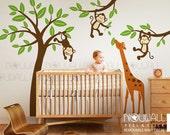 Monkeys Hanging On Tree With Giraffe Wall Decal, Kids ,Nursery Wall Decals Wall Sticker ,Wall Decor