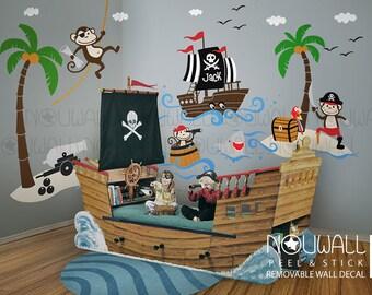 Pirates Wall Decals, Ship, Captain Jack, Treasure Island, Adventure boys Kids Wall Decal Wall sticker