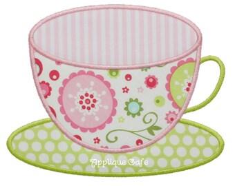 644 Teacup 2 Machine Embroidery Applique Design