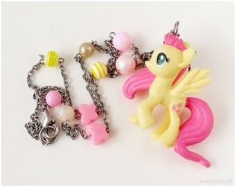 Fluttershy Figure Necklace, Beaded Stainless Steel Chain, Pink, Yellow, MLP, Kawaii Jewelry