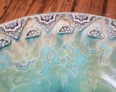 """MADE TO ORDER Arabic Floral Lace Design Boader Your Choice Colors Crystalline Glazed Porcelain Vessel Sink Up to 15"""" in Diameter"""