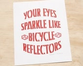 Linocut Print - Bicycle Art - Typography Poster - Love