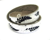 Wristcuff Bracelet Metallic Silver and Navy Ferns Hand Printed Vegan Leather