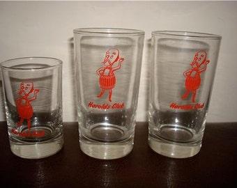 Lot 3 vintage casino glasses glass HAROLDS CLUB old Reno HISTORIC gaming