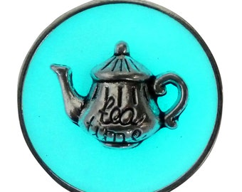 Alice in Wonderland necklace tea pot cup party  gothic Lolita pendant charm GLOW in the dark - Fairy Angel magical mystical dust-Aqua