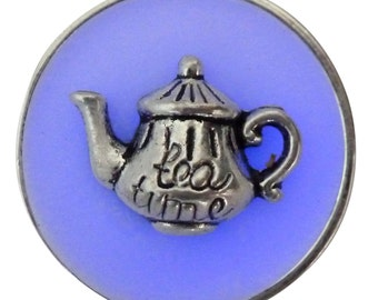 Alice in Wonderland necklace tea pot cup party  gothic Lolita pendant charm GLOW in the dark - Fairy Angel magical mystical dust-blue